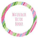 Striped watercolor round frame Royalty Free Stock Image