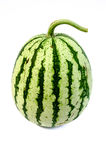 Striped Watermelon. On the white bcakground Royalty Free Stock Photos