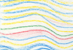 Striped wavy crayon pattern. Hand painted oil pastel crayon. Royalty Free Stock Photo