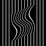 Striped wavy and straight lines. Striped wavy and straight lines on black background. Vector art Royalty Free Stock Image