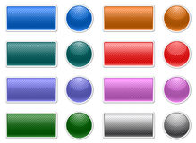 Striped web buttons. Striped shiny web buttons in various colors Royalty Free Stock Images