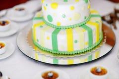 Striped wedding cake Stock Photos