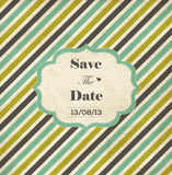 Striped wedding invitation card with frame. Date and heart Royalty Free Stock Photography