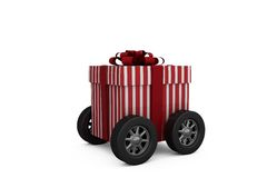 Striped white and red gift box with wheels Stock Photography