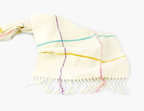 Striped white scarf  on white background Royalty Free Stock Photo