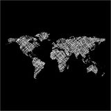 Striped white world map Royalty Free Stock Images