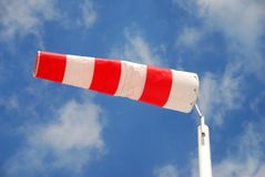 Striped wind sock. Red and white striped wind sock on cruise ship Royalty Free Stock Image