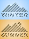 Striped winter and summer mountain Stock Image