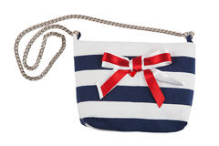 Striped women bag with red bow Stock Images