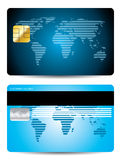 Striped world map credit card design Stock Images