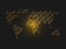 Striped world map. Orange led light futuristic design on dark background. Vector illustration Royalty Free Stock Photography