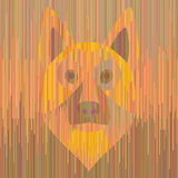 Striped yellow dog german shepherd. Yellow dog. German shepherd. Colorful straight line vector illustration. Creative digital pattern. Techno art Royalty Free Stock Images