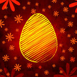 Yellow easter egg over brown old paper background with flowers Royalty Free Stock Images
