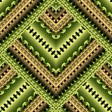 Striped zigzag 3d greek vector seamless pattern. Bright green geometric trendy background. Ornamental tribal ethnic style repeat. Backdrop. Ancient greek key vector illustration