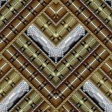 Striped zigzag 3d greek vector seamless pattern. Ornate modern geometric background. Ornamental tribal ethnic style repeat. Backdrop. Ancient greek key meanders vector illustration