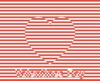 Stripes вектор сердца Иллюстрация предпосылки дня валентинок Стоковые Изображения