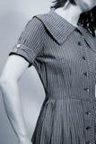 Stripes. Bodice of striped vintage dress on model Royalty Free Stock Image