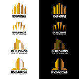 Желтое золото stripes дизайн вектора логотипа здания установленный Стоковые Изображения