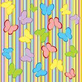 Stripes and butterflies background  Stock Photography