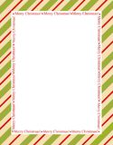 Stripes christmas frame. Retro striped frame with red and green  stripes with merry christmas letters. christmas candy cane border Stock Photography