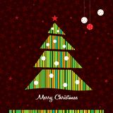 Stripes Christmas tree background. Vector. Royalty Free Stock Image