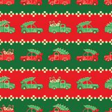 Stripes of Christmas trucks in red and green colors vector pattern. royalty free stock images
