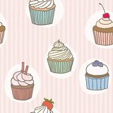 Stripes cupckes pattern. Vector hand drawn seamless pattern Stock Images