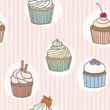 Stripes cupckes pattern. Vector hand drawn seamless pattern royalty free illustration