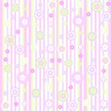 Stripes and daisies. Pale pink and green striped and patterned background with daisies Royalty Free Stock Photos