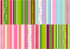 Stripes designs vector. Bright stripes background with floral swirl elements, combination of four designs in Vector format Stock Image