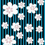 Stripes and flowers. Cartoon style illustration Stock Images