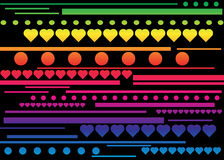 Stripes, hearts and circle pattern Stock Photography