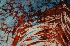 Stripes, hot batik, background texture, handmade on silk, abstract surrealism art stock photo