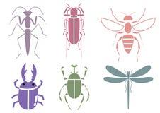 Stripes insect. 6 set illustration Stock Illustration