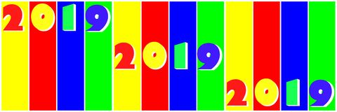Multicolored numbers 2019 in pop art style. Stripes multicolored numbers 2019 in pop art style royalty free illustration