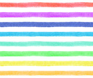 Stripes of rainbow colors on white background. Watercolor seamless pattern. For fabric Stock Photos
