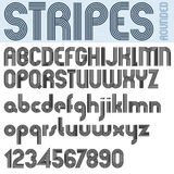 Stripes retro style graphic font. Stock Photos