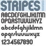 Stripes retro style graphic font, vector alphabet. Stock Photo