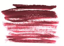 Stripes wine burgundy watercolor on white background.The color s. Wine burgundy color hand made brushstroke watercolor stain isolated on white background stock photography