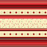 Stripey background with stars - in red, yellow Royalty Free Stock Image