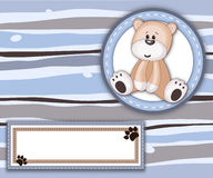 Stripey card with teddy bear label and copy space stock image