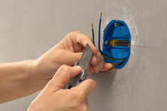Striping the insulation of wires with cutter Stock Photos