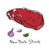 Striploin纽约小条牛排在白色背景隔绝的裁减传染媒介 库存照片