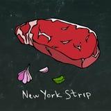 Striploin纽约小条牛排在黑板背景隔绝的裁减传染媒介 库存图片