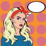 Strippagina blond meisje in popartstijl Royalty-vrije Stock Fotografie