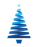 Stripped abstract christmas tree. Blue stripped abstract christmas tree Stock Photo
