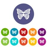 Stripped butterfly set icons Stock Photo