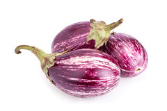 Stripped eggplants isolated on white Stock Images
