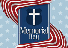 Stripped Flags around Blue Ribbon Commemorating American Memorial Day, Vector Illustration Royalty Free Stock Image