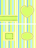 Stripped green set. A set of four green striped  cards Royalty Free Stock Photo
